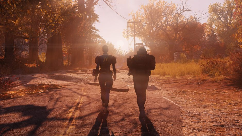 Picture of two people walking into the sunset in Fallout 76