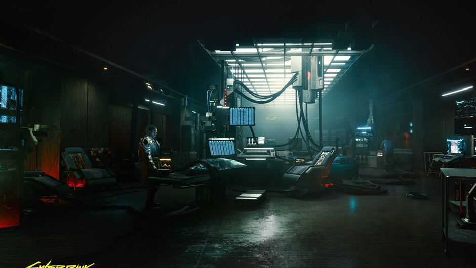 cyberpunk 2077 screenshot showing a room with computers and cables