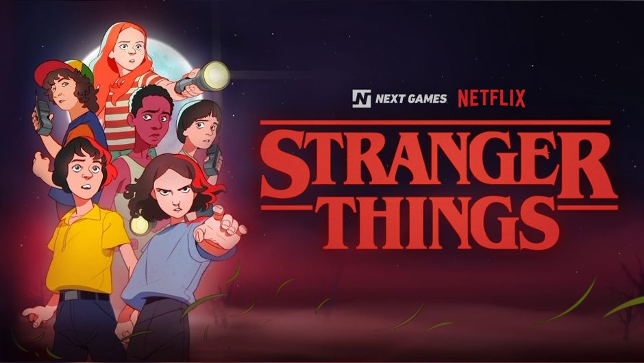 artwork showing strangers things game logo and characters