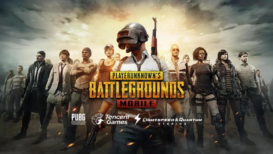 A group of armed people on the poster for Tencent's PUBG Mobile