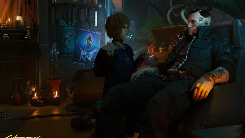 Protagonist of Cyberpunk 2077 sitting in a futuristic parlor of some sort