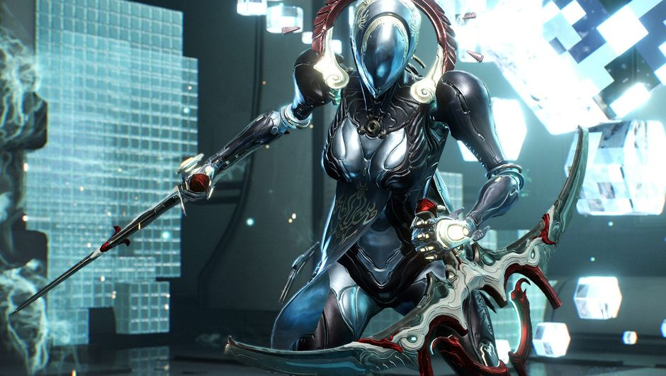 One of the exosuits from The Sacrifice quest in Warframe