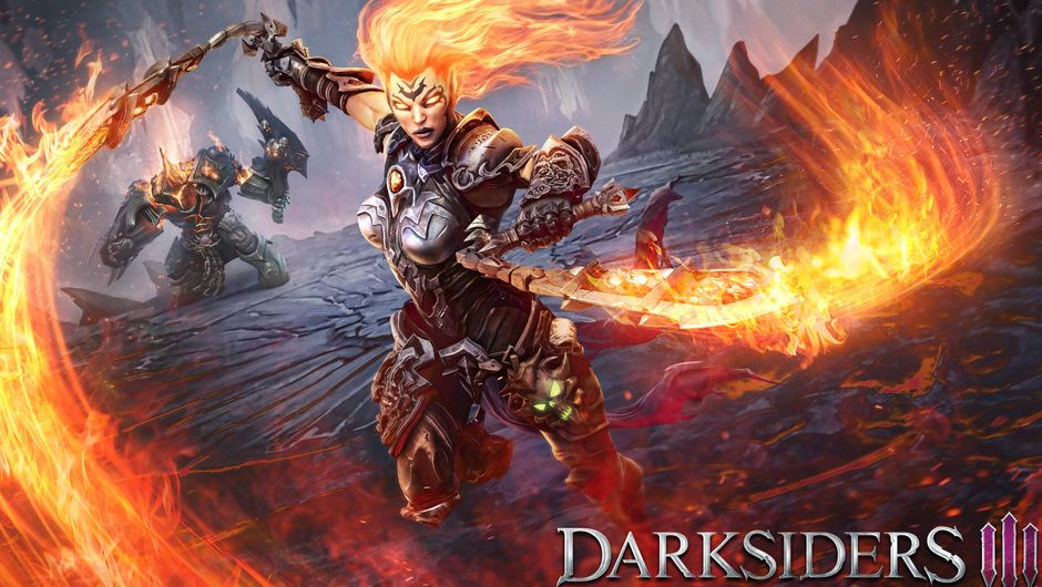 Picture of Fury swinging her flaming weapons while her hair is also on fire