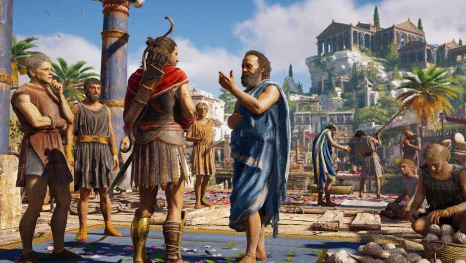 picture showing the main charachter from Assassin's Creed Odyssey talking to people on the street