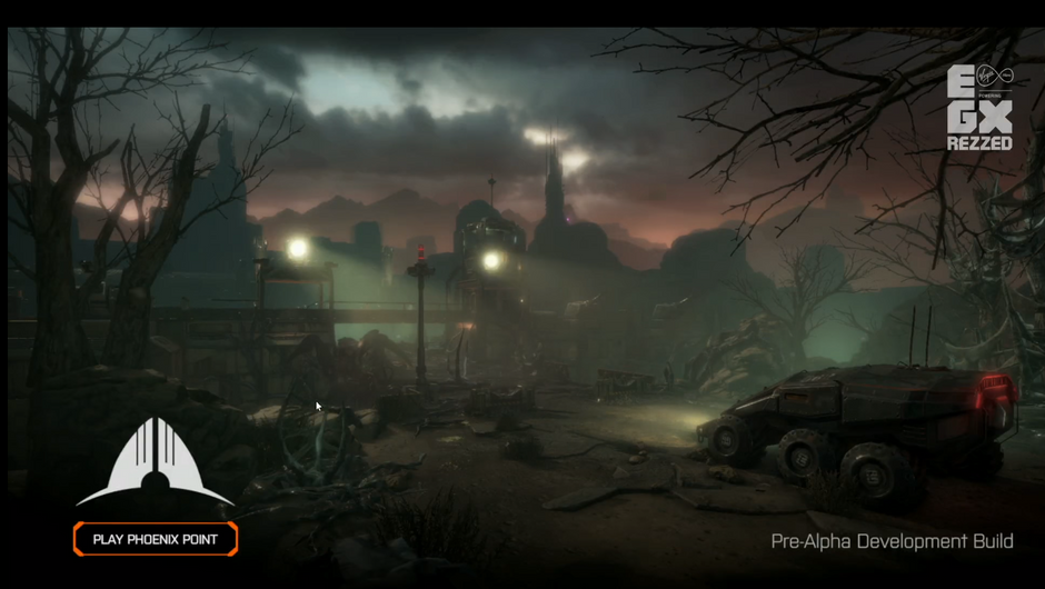 Starting screen from the preview build of Phoenix Point for EGX Rezzed 2018.