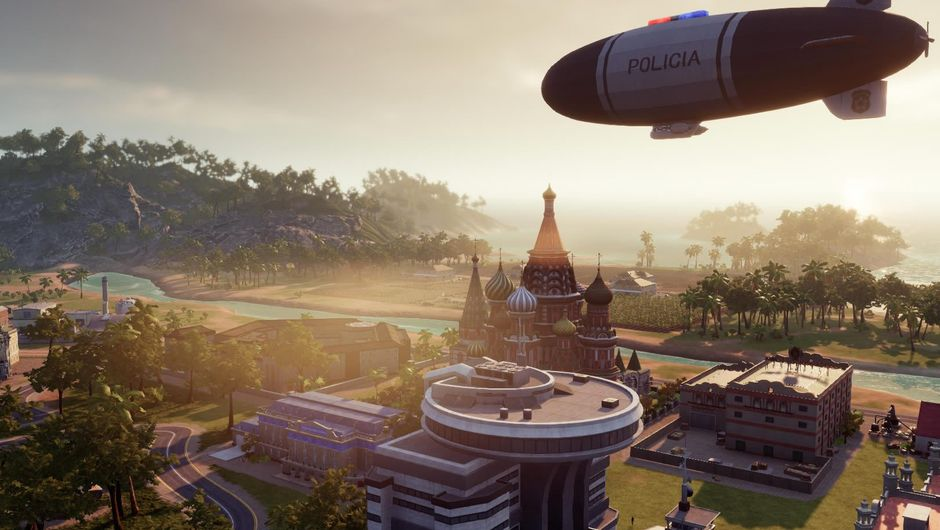A zeppellin flying over an island in Tropico 6 sim game