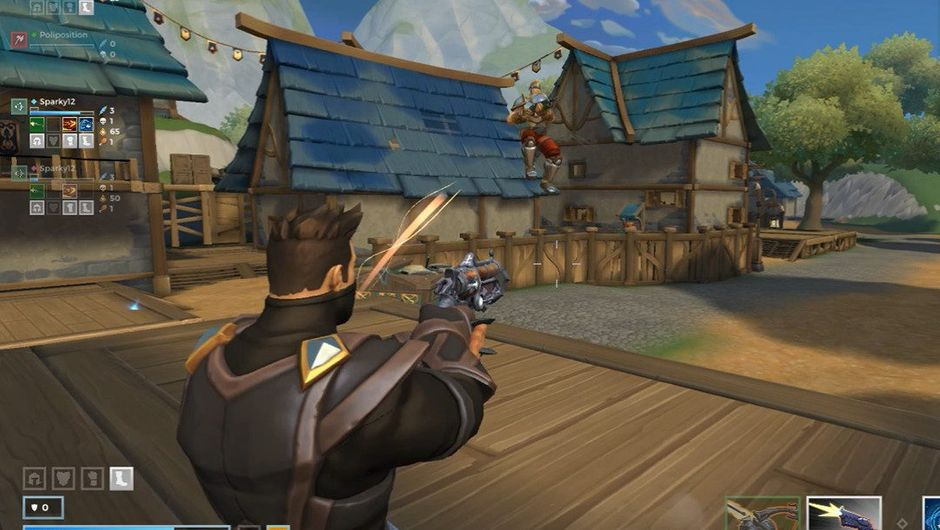 Some guy is aiming a revolver at a house in Realm Royale