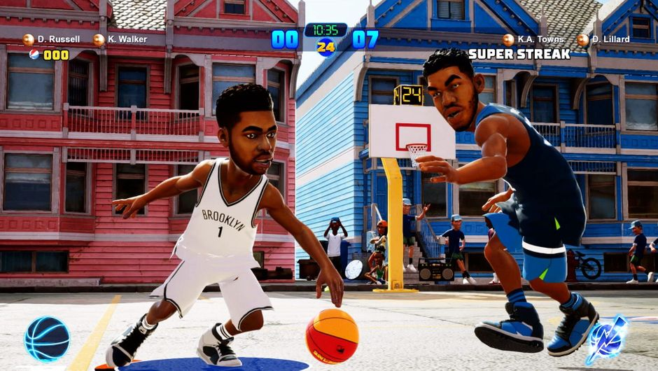 D'Angelo Russell performing a crossover against Karl-Anthony Towns in NBA 2K Playgrounds 2.