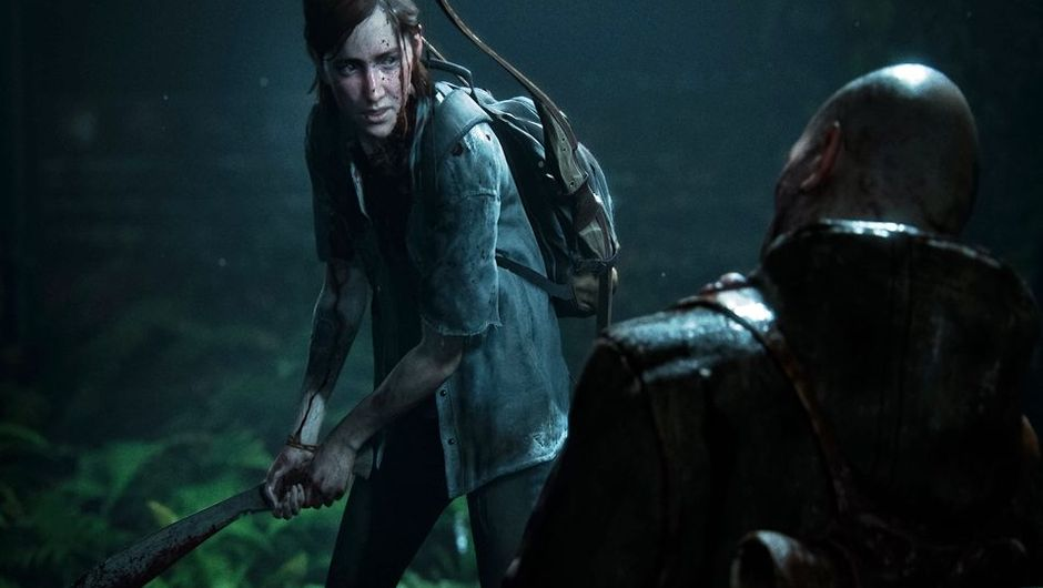 Ellie from The Last of Us holding a machete.
