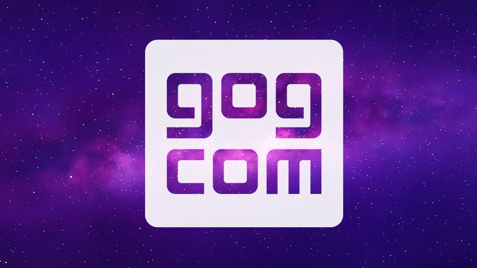 Picture of GOG logo in white on a purple background