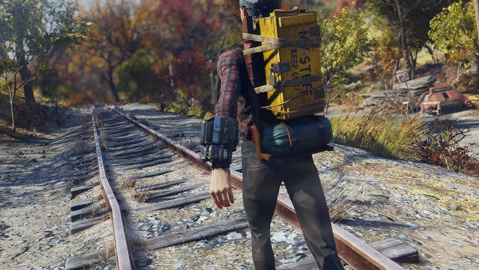 picture showing a man walking on rails