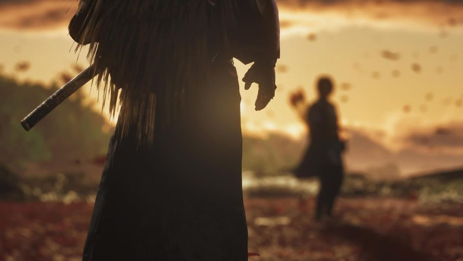 A samurai and bowman standing in sunset in Ghost of Tsushima
