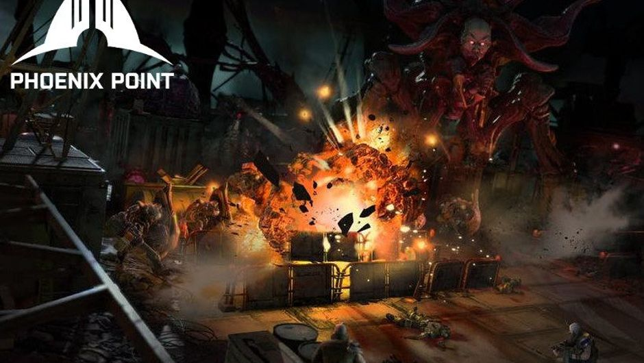 Big explosions are happening as Phoenix Point operatives fight a giant spider monster