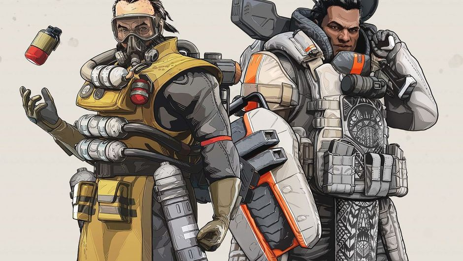 artwork showing Gibraltar and Caustic from apex legends