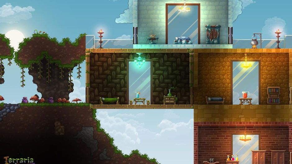 Side view in Re-Logic's cancelled game Terrraria Otherworld