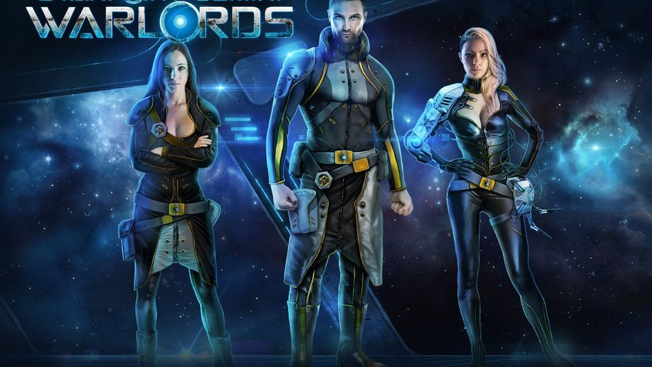 A space guy stands on the promotional image with two space girls.