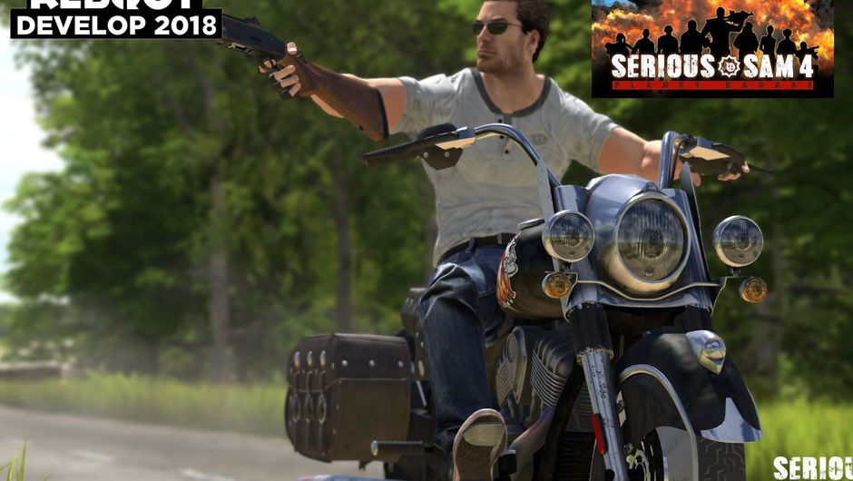 Screenshot from Serious Sam 4 showing a man on a motorcycle