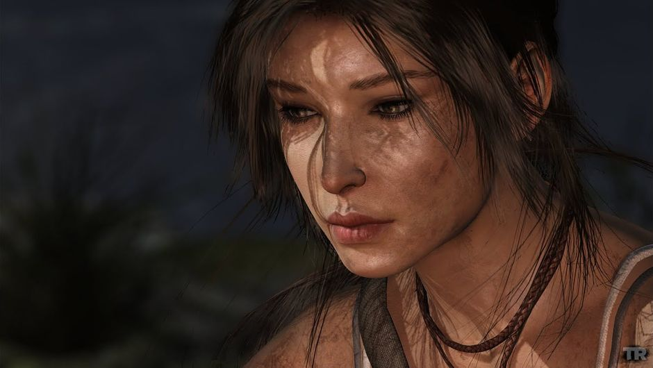 Tomb Raider screenshot showing lara croft by the fire