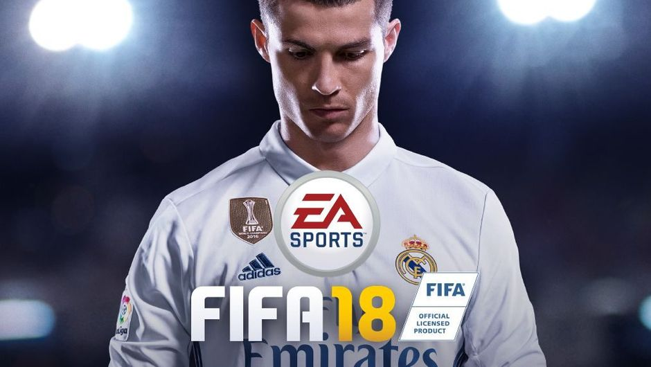 Cristiano Ronaldo looking down at the FIFA 18 logo