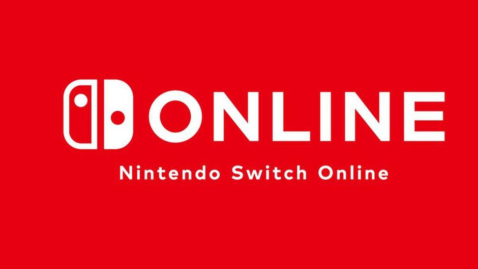 Promotional image for Nintendo Switch Online in white letters on red background
