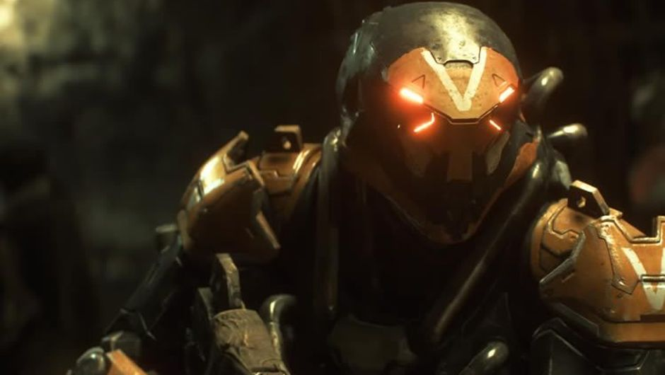 Screenshot of the protagonist from Anthem's teaser trailer