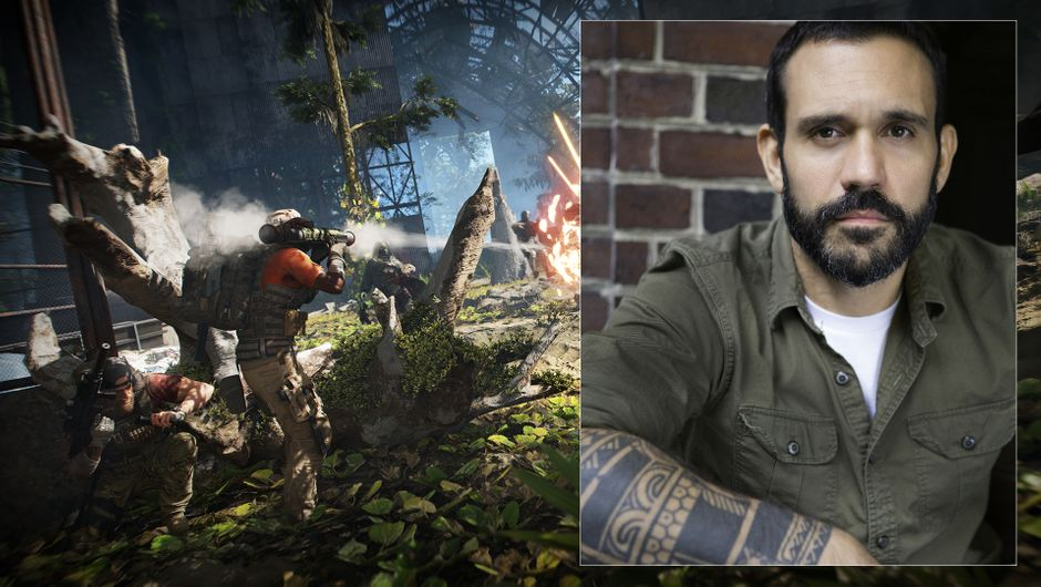 Emil Daubon headshot photo, and Ghost Recon: Breakpoint gameplay screenshot