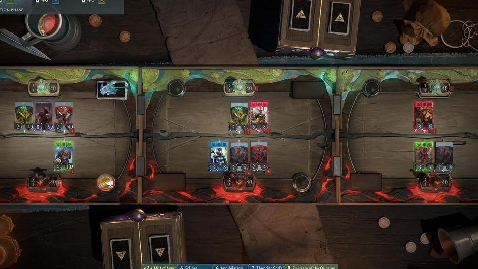 Three playing lanes in Artifact, the Dota 2 trading card game