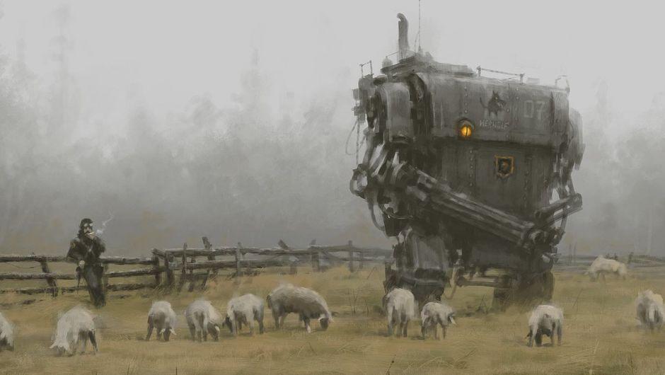 A painting of a large mech walking among sheep