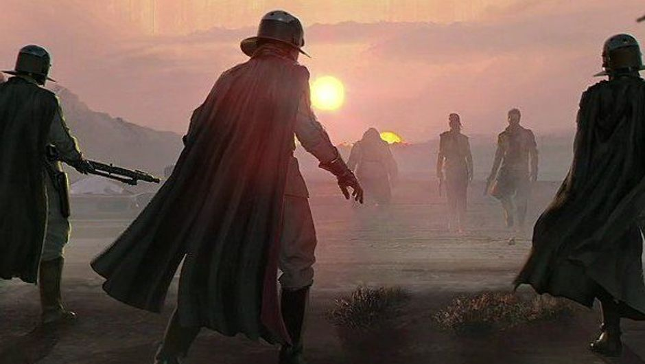 picture showing charachter from star wars game looking at sunset