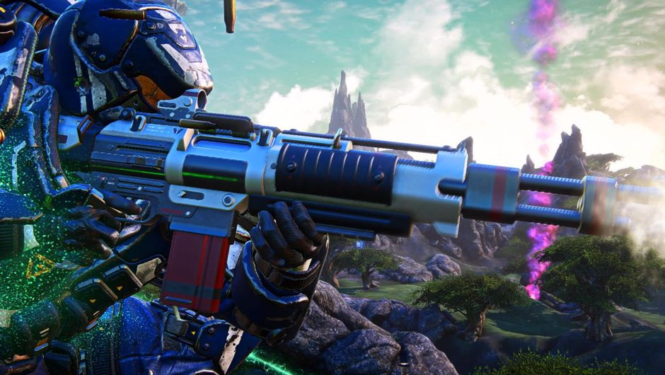 Planetside Arena soldier firing a rifle