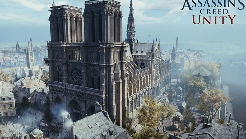 screenshot from assassin's creed unity showing notre dame cathedral