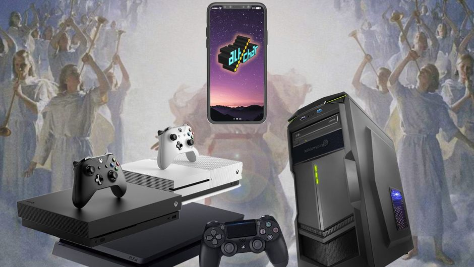 Playstation 4, Xbox One, PC and a mobile device on top