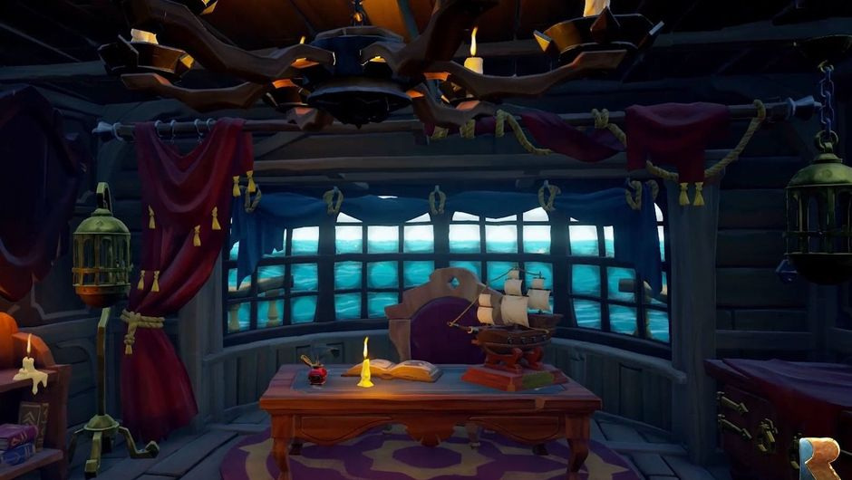 Sea of Thieves - a view from inside the captain's cabin