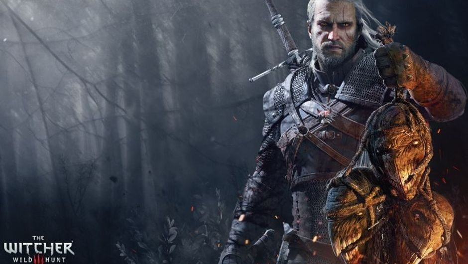 Geralt of Rivia holding a bunch of severed monster heads