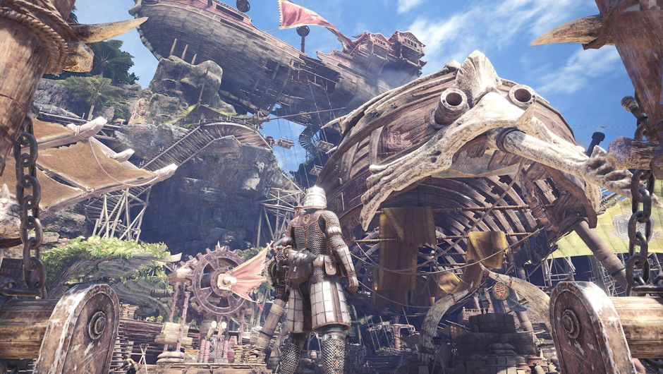 Monster Hunter: World character in front of a fantasy town