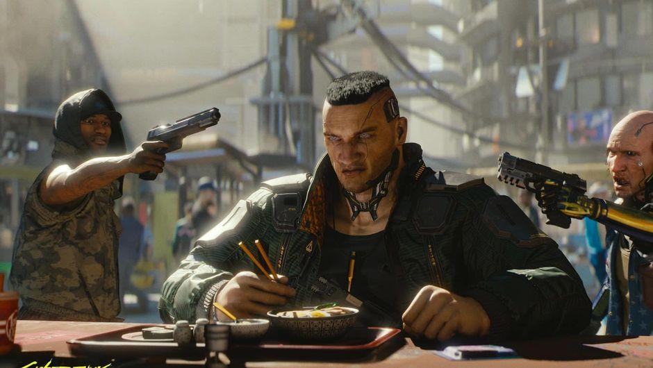 A man having dinner, surrounded by gunmen in Cyberpunk 2077