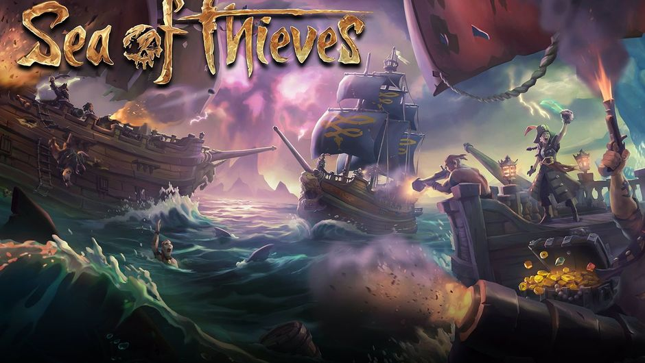Sea of Thieves logo with ships and game characters in the background
