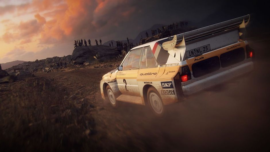 A rally car driving into the sunset in Dirt Rally 2.0 by Codemasters