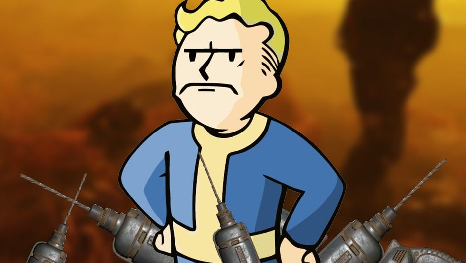 artwork showing vault boy from fallout 76 and drills item