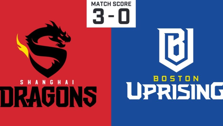 Picture of the final score for the match between Shanghai Dragons and Boston Uprising