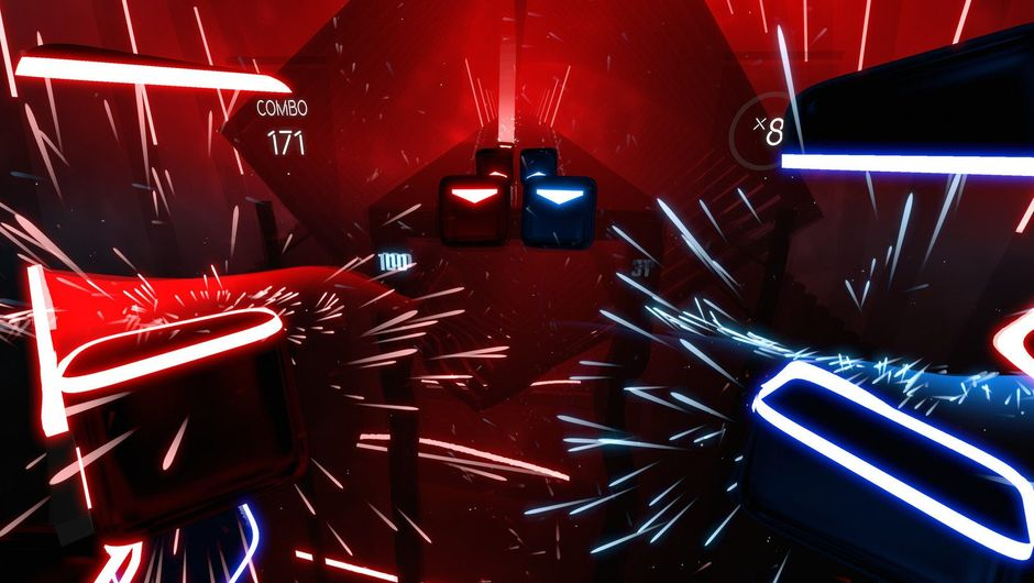 Screenshot from Beat Saber showing stuff in mostly red colours