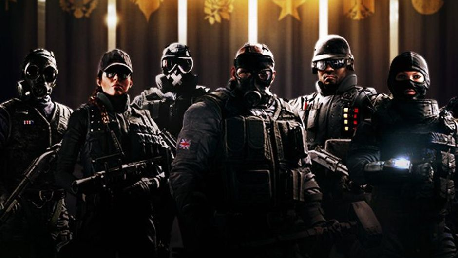 Promotional image of Rainbow Six Siege showing six of the game's operators - Smoke, Ash, Mute, Sledge, Castle and Twitch