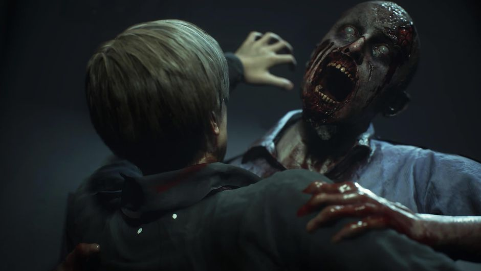 Leon, one of Resident Evil 2 protagonists, fighting a zombie