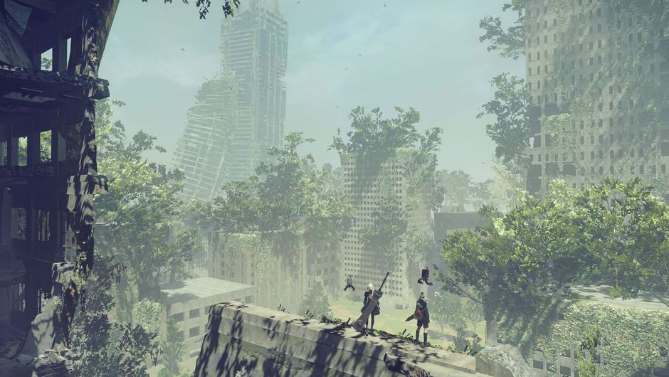 A vast futuristic expanse with two people standing on a distant ledge