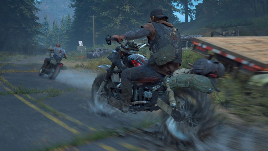 Days Gone protagonist on a motorcycle following another biker