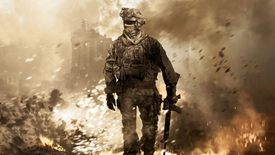 A soldier looking at a burning and dusty site in Call of Duty