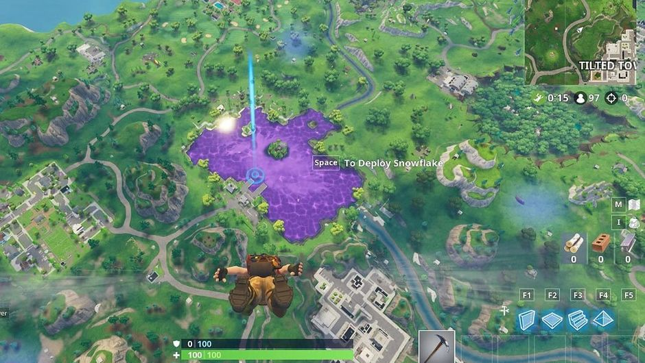 Fortnite character flying towards Loot Lake, which turned purple