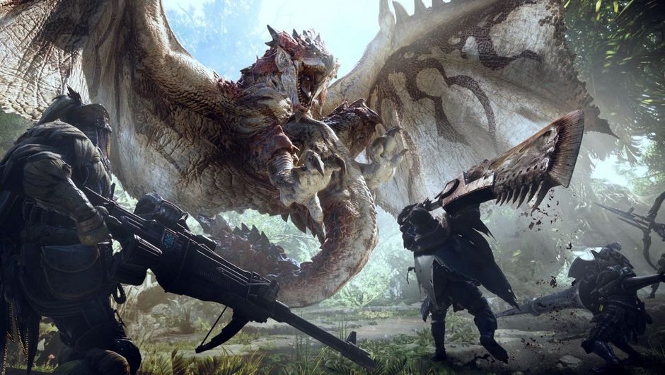Several men with scifi weaponry hunting a dragon