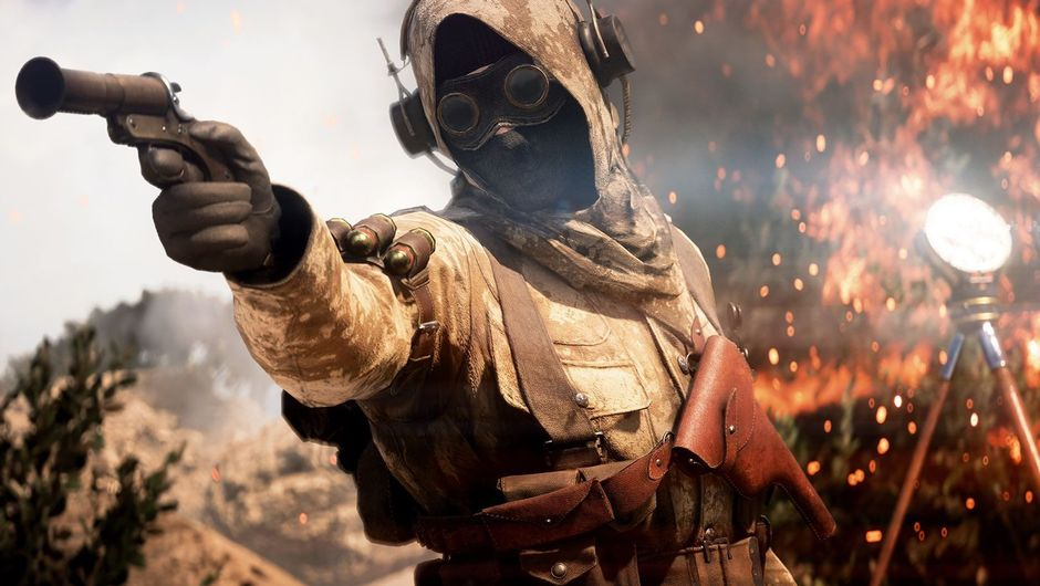 Creepy guy with a creepy mask is aiming his creepy gun at something in Battlefield.