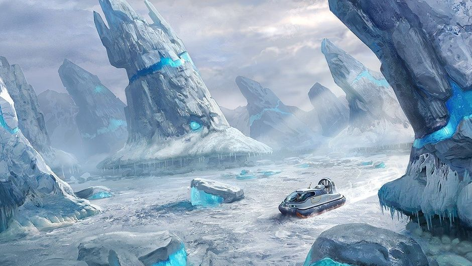 Air cushion vehicle amidst ice spires in Subnautica: Below Zero